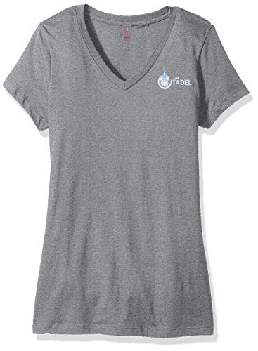 Campus Merchandise NCAA Damen V-Neck Tee, Damen, Ladies V-Neck Tee, Heather Nickel, Medium