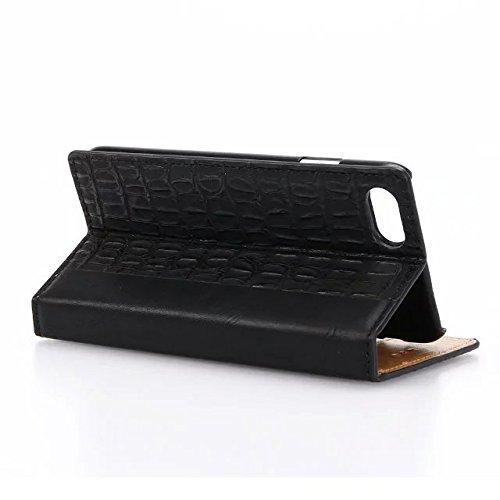 """inShang iPhone 7 Coque 4.7"""" Housse de Protection Etui pour Apple iPhone7 4.7 Inch,Coque Avec support fonction, Pochette super- utile, Wallet design with card slot Crocodile black"""