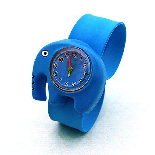 WangsCanis Kinder Schöne Cartoon Silikon Magnetische Magie Uhrenarmband Quarz Sport Beugbar Gummiband Armbanduhr (Elefant)
