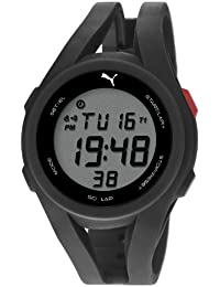 Puma Airy Unisex Digital Watch with LCD Dial Digital Display and Black PU Strap PU911131001