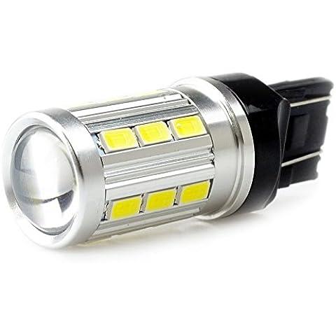 Lumiplux 7443 Bombilla W21 / 5W W3X16Q 12V de la luz blanca LED del coche 21X5730SMD para la luz de freno (Pack de 2)