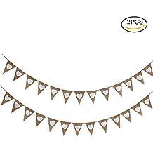 Uarter Burlap Pennant banner retro Gagliardetti Triangle striscioni per decorazione, 13pezzi per una riga, 2file, 2,8m di lunghezza
