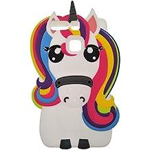 Huawei P9 Lite / Huawei P9 Funda, DUGRO Nuevo 3D de Dibujos Animados de Suave Silicona [Diseño más Grueso] Ultra Anti-Choque Teléfono Caso - Rainbow Unicornio