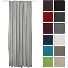Beautissu® Cortina Térmica Amelie con trabillas correderas - 140x245 cm Gris - Aislante Universal - Diversos Colores