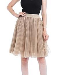 5b4f7ad8f681 VJGOAL Damen Röcke, Tutu Rock Damen Mädchen Frauen 4 Schichten Mesh  Tüllrock Plissee Prinzessin Rock