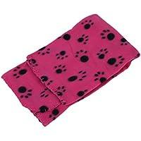 SODIAL(R) 60 * 70cm caliente suave lindo acogedor Warm Blanket Mat impresiones de la pata del animal domestico del gato del perro pano grueso y suave de cama (marca Negro sobre huellas rojas)