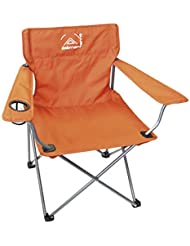 Elementerre BC 026 - Silla plegable de camping con reposa brazos y espacio para colocar la bebida, color naranja , talla 82 x 52 x 79