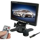 Pantalla de la cámara del monitor del coche de 7.0 pulgadas / vigilancia con soporte de ángulo ajustable y control remoto, entrada de video dual