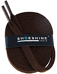 Shoeshine India dark brown sport shoe lace flat shoelace (Set of 2 Pairs) Size S-150cm & 7mm W