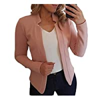 GAGA Women's Casual Long Sleeve Fashion Casual Solid Color Front Open Suit Coat Top Pink XL