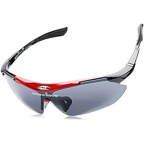 SaySure–gafas de hombres mujeres gafas gafas de sol al aire libre pesca gafas, Unisex mujer, Red Frame,