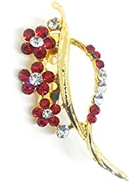 Saree Pin Brooch For Women, Girls & Men, Gold Tone, Red Color Stone Stud