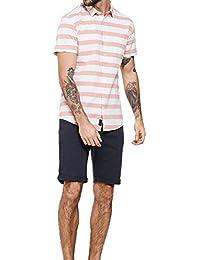 Threadbare - T-shirt - Avec boutons - À Rayures - Col Chemise Classique - Homme rose rose