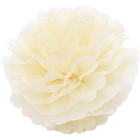 Come 2Buy–Confezione da 5Carta Velina Pompon ideale per Natale, decorazioni per feste e matrimoni, pizzo vintage 3pcsx12