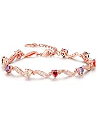YELLOW CHIMES Royal Hearts Swiss AAA Zircons Designer Bracelet for Women