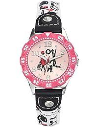 Lulu Castagnette - 38755 - Montre Fille - Quartz Analogique - Cadran Rose - Bracelet Cuir Blanc