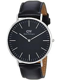 Daniel Wellington DW00100133 - Relojes en acero inoxidable con correa de piel, Unisex, color negro