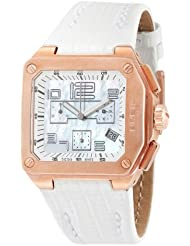 Breil BW0399 - Reloj cronógrafo de mujer de cuarzo con correa de piel blanca (cronómetro)