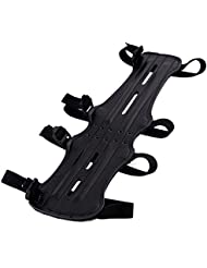 MyArmor - Protector de brazo ultra ligero, ajustable con 4 correas elásticas, en piel sintética para tiro al arco, color negro (29,97 cm)