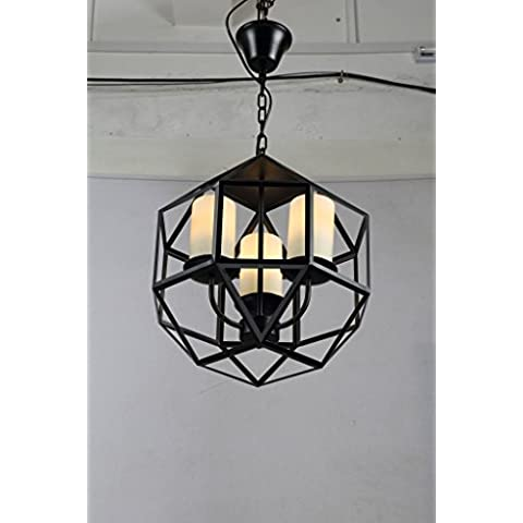 Paese ferro arte vetro candela titolari lampadario d'epoca industriale tavolo da pranzo 400 * 400mm