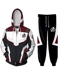 02793303381 SilverBasic Survêtement Homme Ensemble de Sport Avengers Endgame Pull Zippé  Manches Longues et Pantalon Super Héro