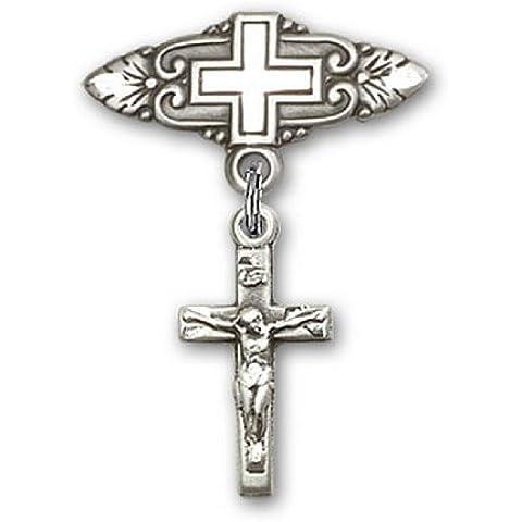 Icecarats Diseñador De Joyas Esterlinas Crucifijo De Plata Pin Insignia Encanto Con La Cruz 1 X