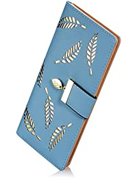 Women'S Soft Leather Cut-Out Leaf Long Bifold Wallet Coin Purse (L-Blue) By Heli