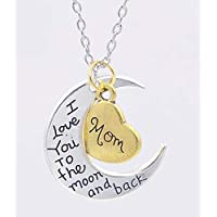 I Love You to the Moon and Back Vintage Silver Necklace Pendant Jewelry mother day Christmas Gift