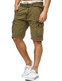 5b41fadb5081c2 Indicode Herren Bolton Cargo Shorts Bermuda Kurze Hose inkl. Gürtel aus  100% Baumwolle Regular