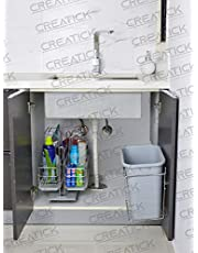 Creatick - Dustbin with Holder (Bucket) - Stainless Steel Door Mounted - Silver Chrome.