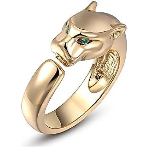 Bling fashion anello placcato in oro rosa 18K con cristalli austriaci con occhi verdi Leopard