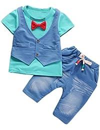 Jimmackey Neonato Bambino Camicia Bowknot Giacca T-Shirt Cime + Pantaloni Gentiluomo Abiti Set