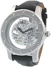 Davis - Montre XXL TYT 359 - Squelette Automatique - Bracelet en Cuir Noir - Fermeture déployante double