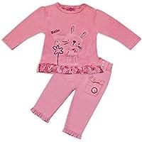 Bambina Cute Coniglio Stampa 2pezzi Abbigliamento set Maglietta e Pantaloni in rosa
