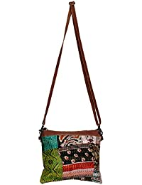 Indistar Silk Kantha Work Detachable Leather Handle Handmade Cross Body Bag, Vintage Top Handle Shoulder Bag-MultiColor