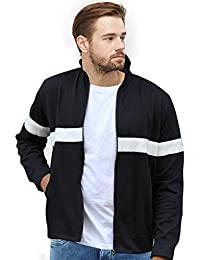 WYO Men's Sweatshirt Winter Wear Zipper Jacket (Black-White)