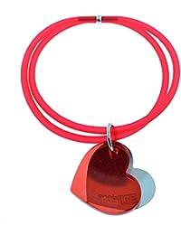 Tatitoto Bracelet Femme en Acier/Méthacrylate/PVC Rouge, Ligne SocialTube, Réglable, 10 Grammes