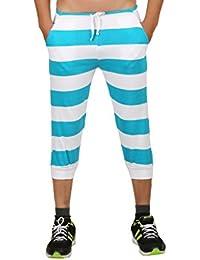 Clifton Mens Bold Stripes SlimFit Capri-Deep Aqua