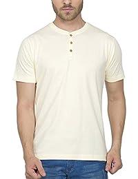 [Sponsored]Clifton Men's Henley Cotton Half Sleeve T-Shirt - Off White