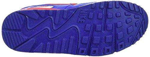 Nike Air Max 90 Mesh (Gs), Chaussures de sport garçon Blanco / Rojo (White / University Red-Rcr Blue)