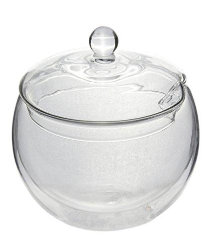 bedida 'Sucre Bol effet de suspension et couvercle en verre (avec ouverture pour Cuillère en verre double paroi 300 ml) – pour sucre, confiture, des collations et des Dips by Feelino