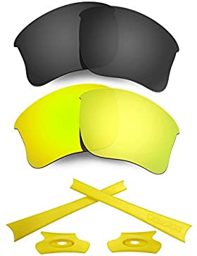 HKUCO For Oakley Flak Jacket XLJ Black/24K Gold Polarized Replacement Lenses And Yellow Earsocks Rubber Kit