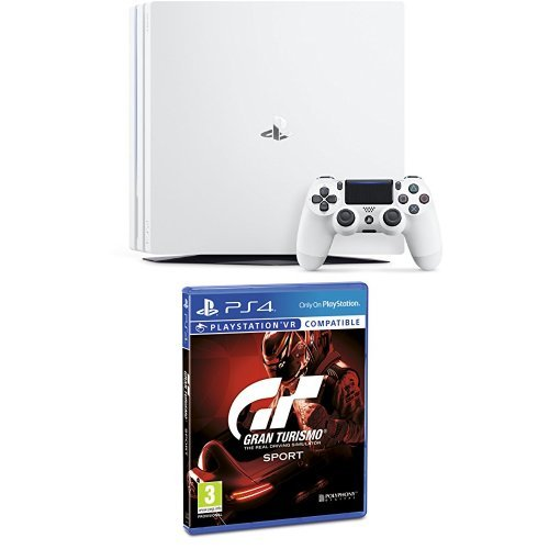 PlayStation 4 Pro (PS4) - Consola, Color Blanco + Gran Turismo Sport - Edición Estándar
