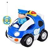 LYCOS3 ferngesteuertes Cartoon-Auto für Kleinkinder, ferngesteuertes Polizeiauto mit Licht und Musik, Geschenk für 3 Jahre alte Kinder, blau, Free Size