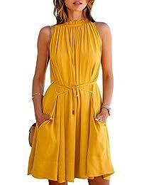 Morang Women's American Crepe Western Dress (MM-9839,Yellow,Medium)