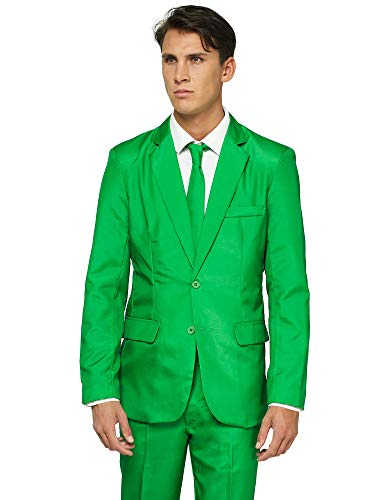 Offstream Plain Colored Suits for Men - Costumes Include Jacket Pants and Tie, XL, Plain Green (Jacket Herren Suit Green)