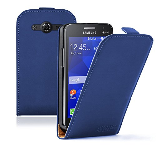 Membrane - Ultra Slim Blu Custodia Compatibile con Samsung Galaxy Core II (SM-G355H / Galaxy Core 2 Dual Sim) (G3556D, G3559, Duos, G3558) - Flip Case Cover + 2 Pellicola Protettiva