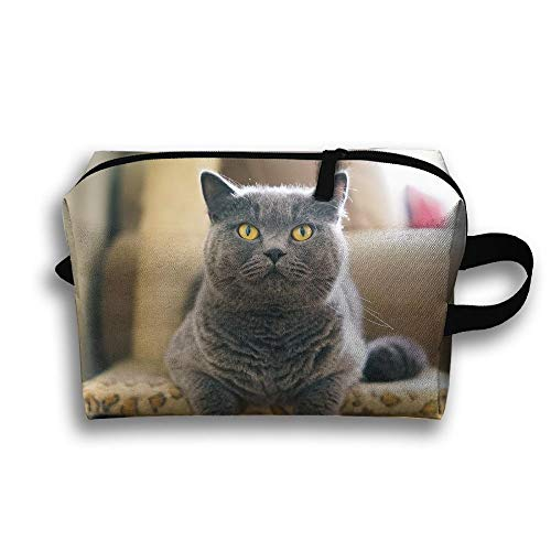 Yellow Eyes Gray Cat-front Travel Bag Toiletries Bag Phone Coin Purse Cosmetic Pouch Pencil Case Tote Multifunction Organizer Storage Bag -