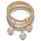 Gespout 3pcs Braccialetto per Donna Lega D'oro Rosa Catena di Mais Pendente a Forma di Cuore con Diamanti Bigiotteria Donna B