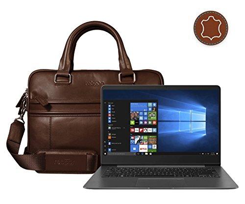 Preisvergleich Produktbild Leder Laptoptasche für Damen / Herren passend für Asus ZenBook UX3430UQ / Braun